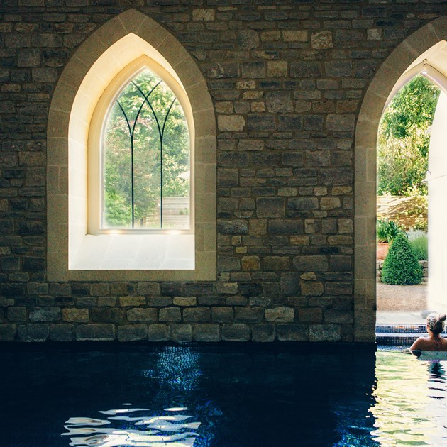 A guest relaxing at our incredible relaxation pool in Bath.