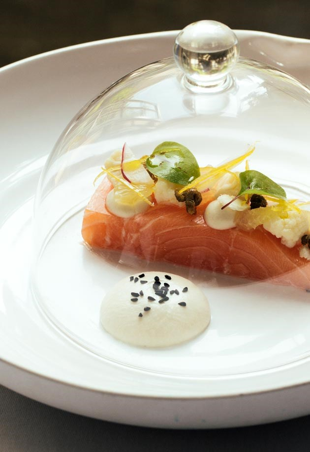 Locally sourced fresh salmon, served at The Dower House Restaurant in Bath.