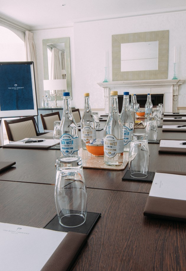 A meeting room setup for a business event at the hotel.