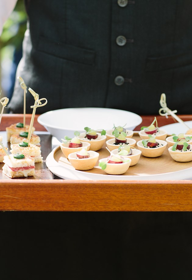 Event canapes served during a business event in Bath.