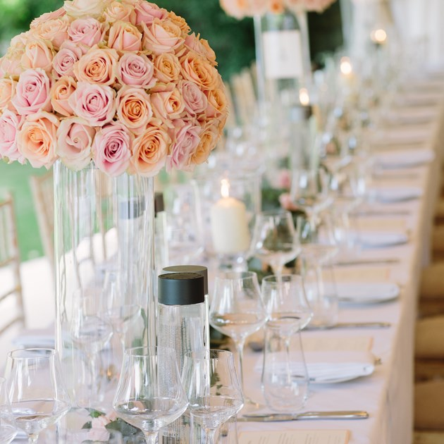 Make your wedding day truly special with personalised table settings and your choice of wedding flowers.