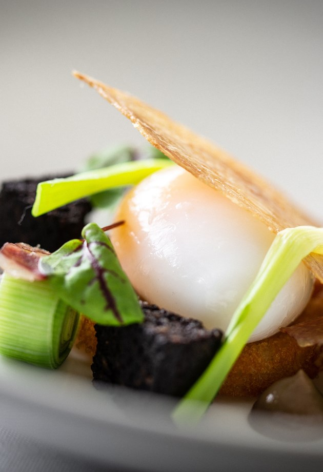 Delicious duck egg main course served by our award winning restaurant in Bath.